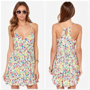 MinkPink T-Back Floral Print Dress with Cutouts